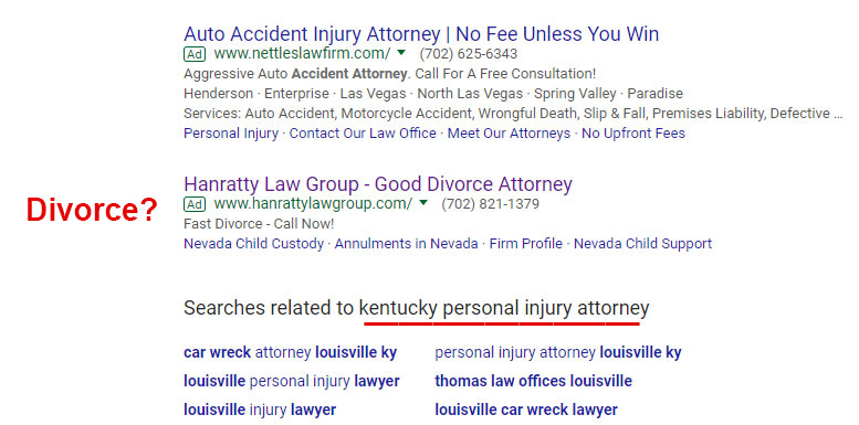 bad adwords for PI attorney